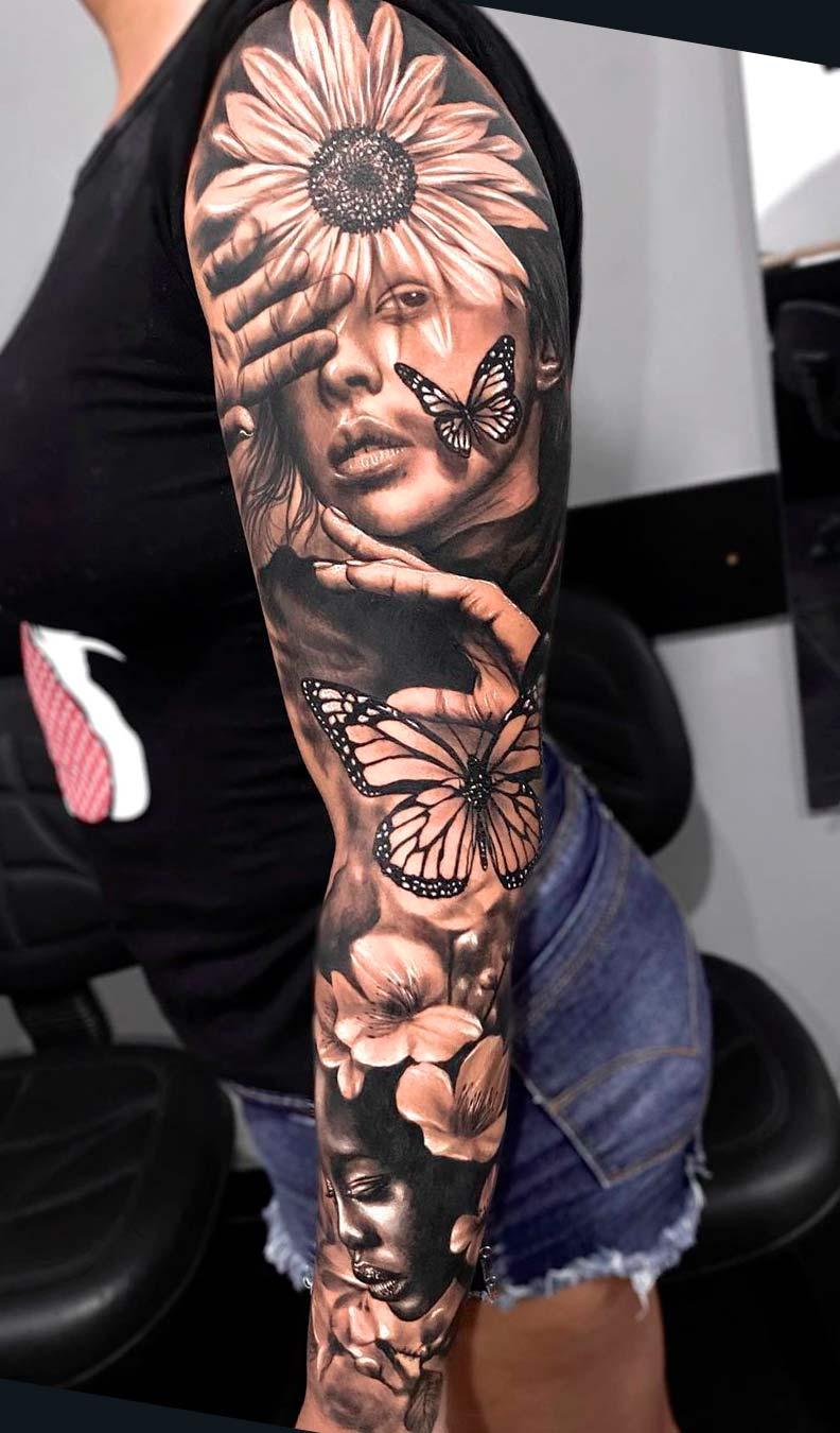 braco-feminino-fechado-de-tatuagens-realistas
