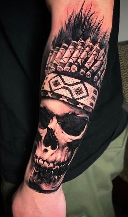 tatuagem-de-caveira-no-antebraço