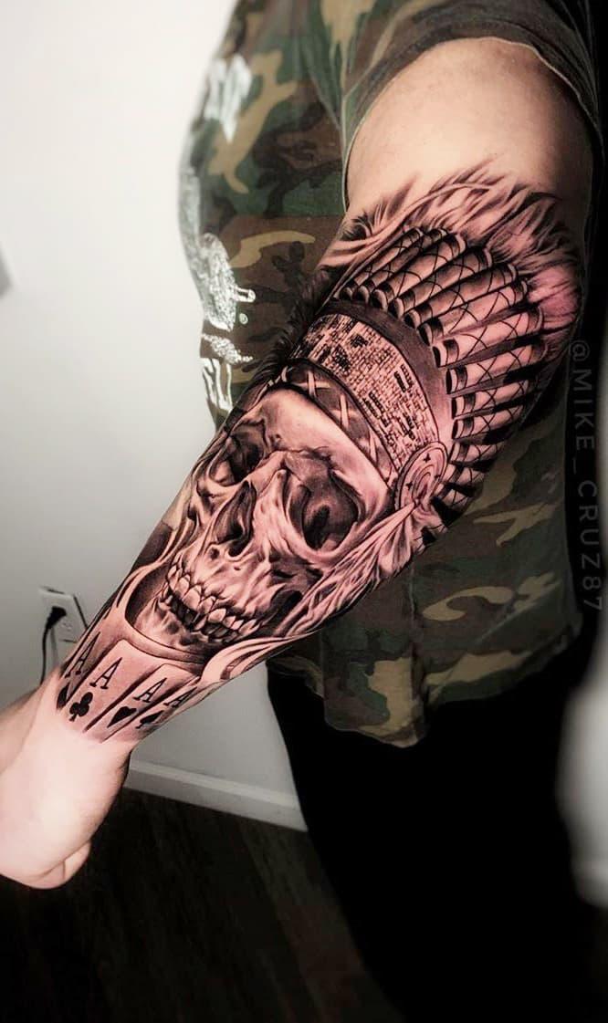 tatuagem-de-caveira-realista-no-antebraço