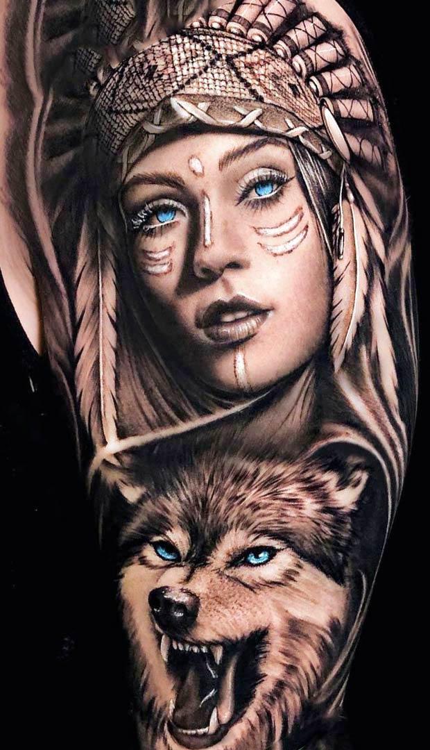 Tatuagem-de-india-e-lobo