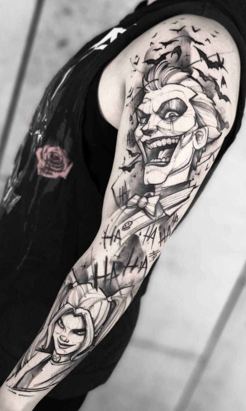 braço-fechado-de-tatuagem-do-coringa