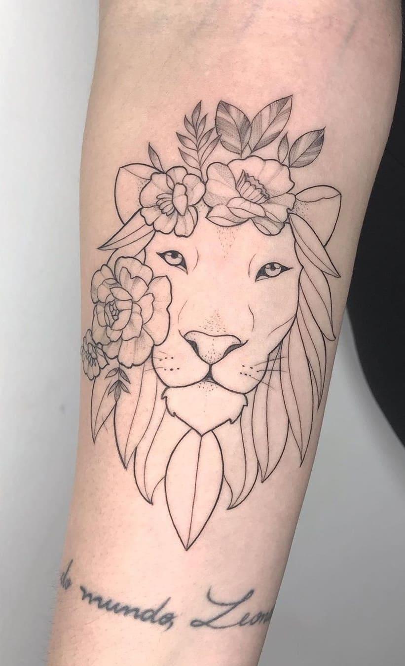 tataugens-femininas-de-leão-no-antebraço-7