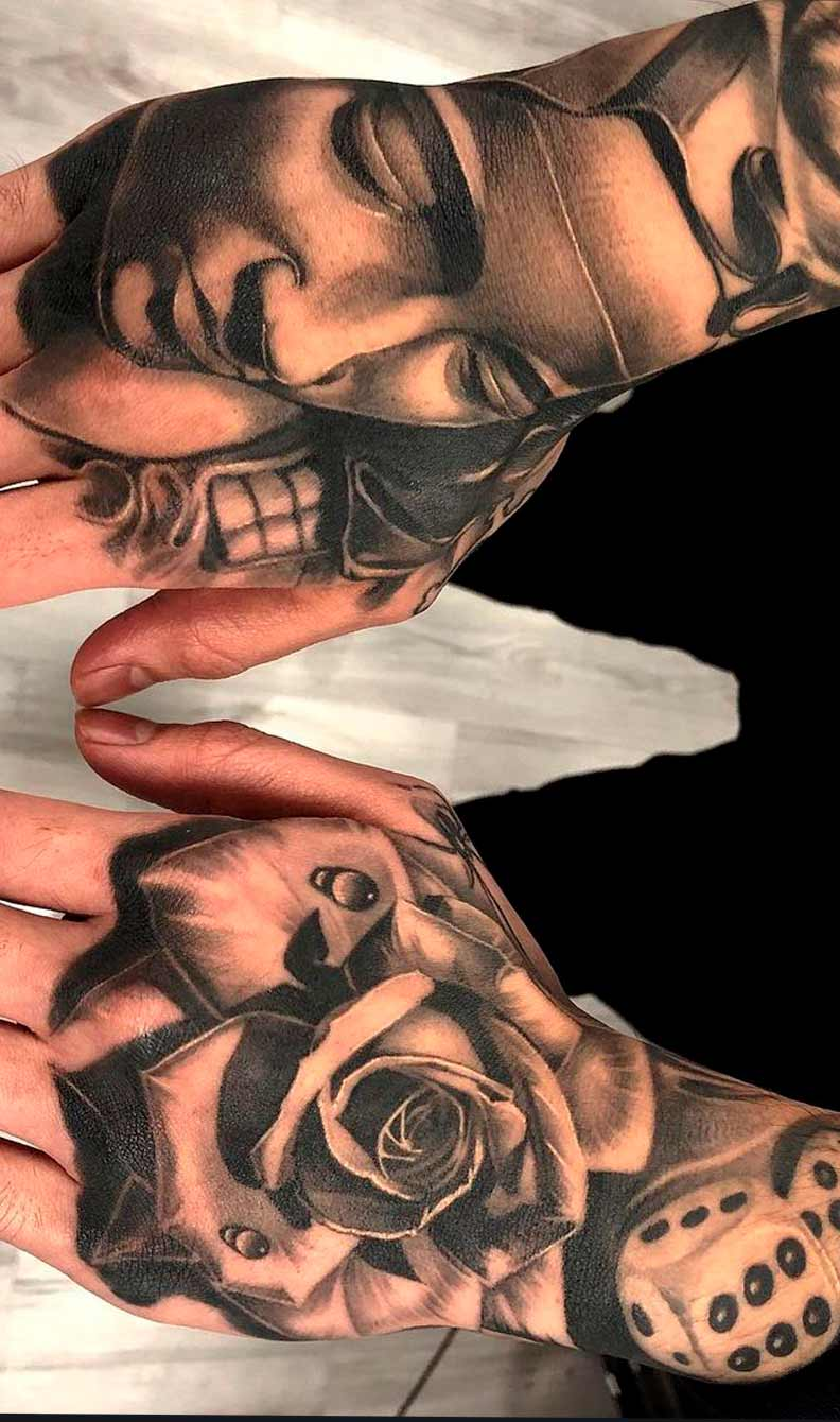 tatuagem-da-maria-e-de-uma-rosa-nas-maos