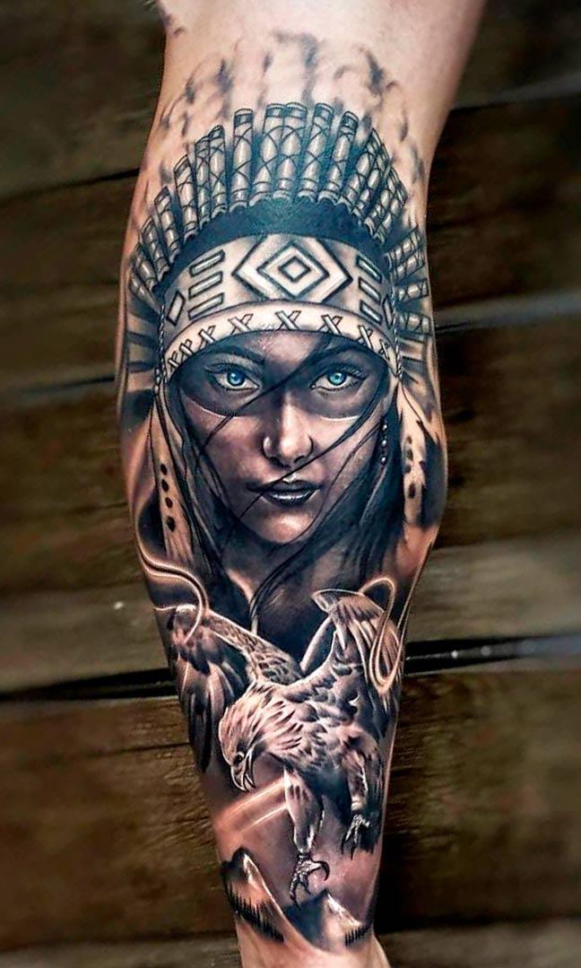 tatuagem-de-india-na-perna