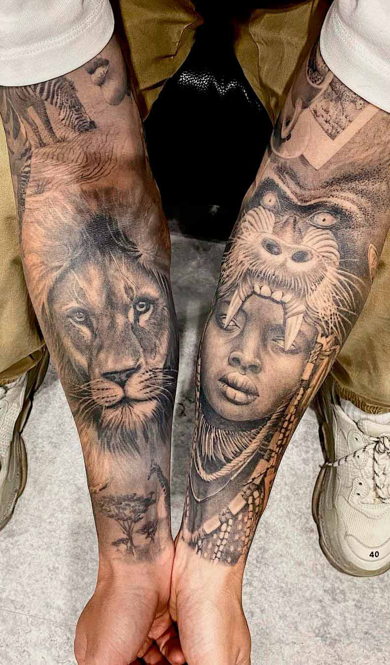 tatuagem-de-leao-e-gorila-no-antebraco-1