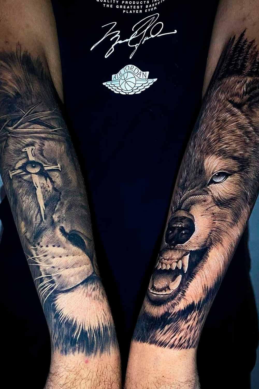 tatuagem-de-lobo-e-leao-no-antebraco