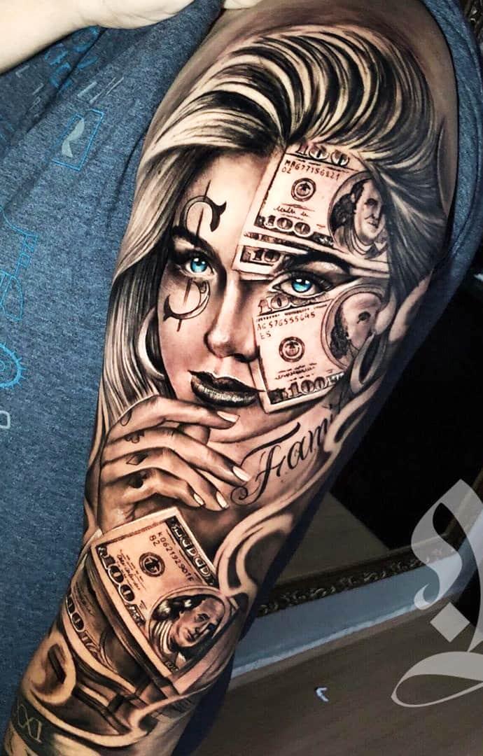 tatuagem-de-notas-de-dolar
