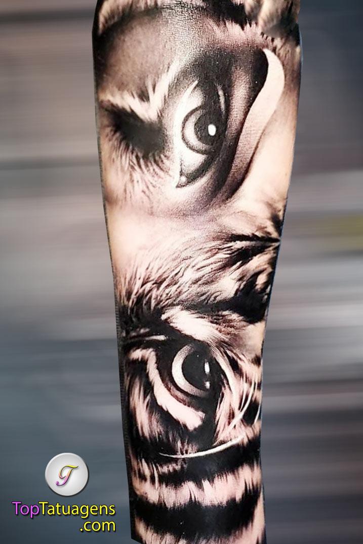 tatuagem-de-olho-de-tigre-no-antebraço