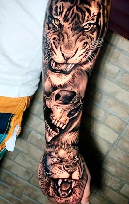 tatuagem-de-tigre-caveira-e-leao