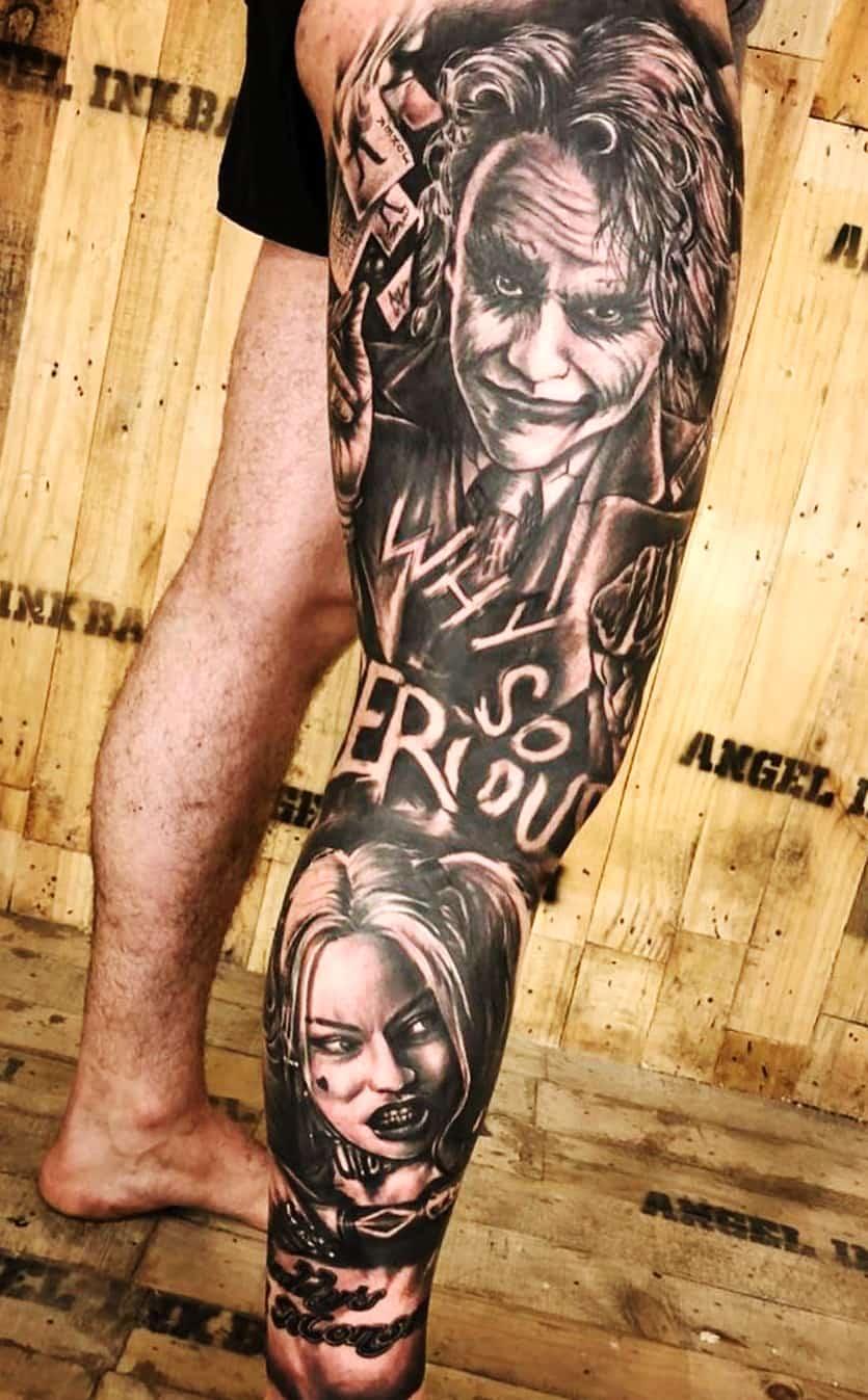 tatuagem-do-coringa-e-alerquina-na-perna