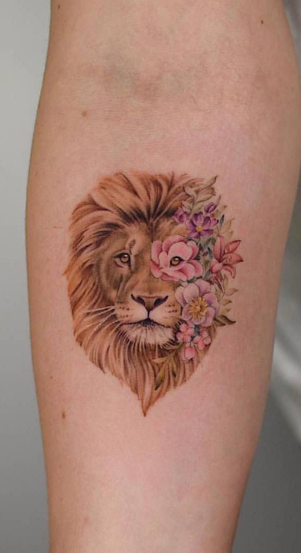 tatuagem-feminina-de-leão-101