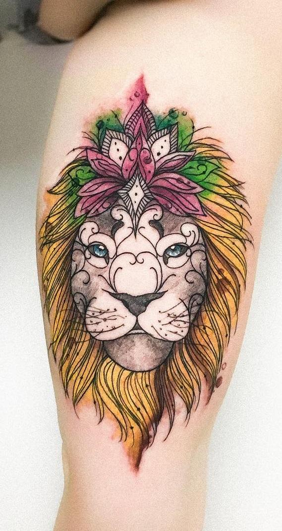 tatuagem-feminina-de-leão-92