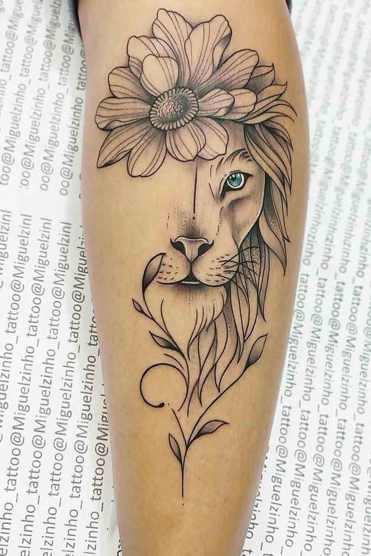 tatuagem-feminina-de-leao-na-perna-1