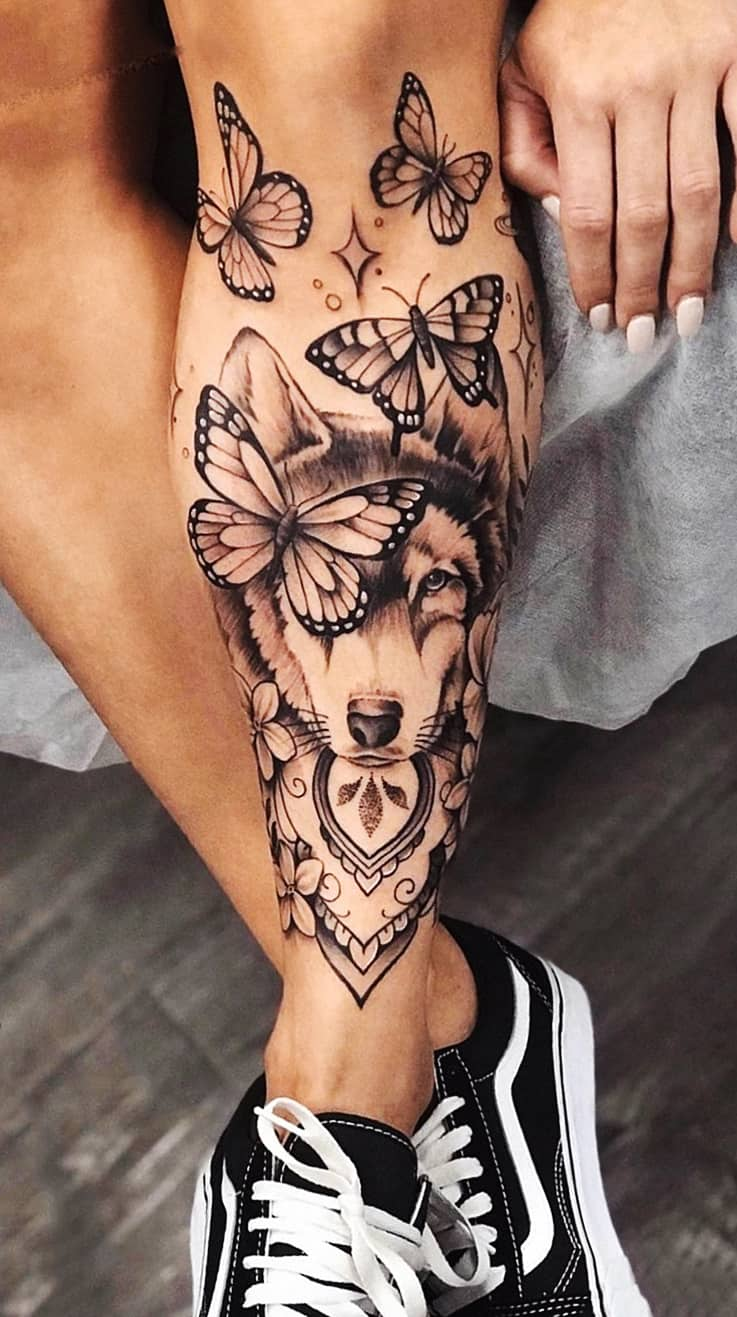tatuagem-feminina-de-lobo-na-perna-2020
