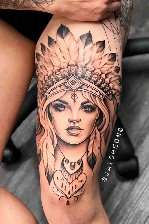 tatuagem-feminina-na-perna-de-india