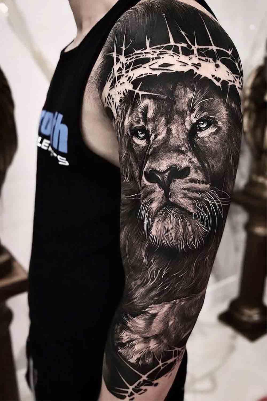 tatuagem-masculina-de-leao-no-braco