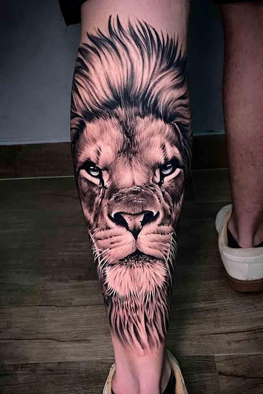 tatuagem-na-perna-de-leao