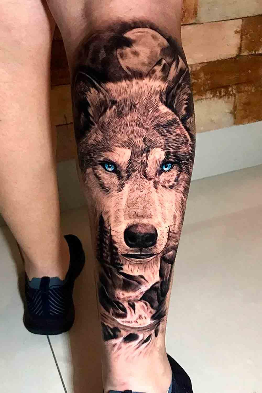 tatuagem-na-perna-de-lobo-realista