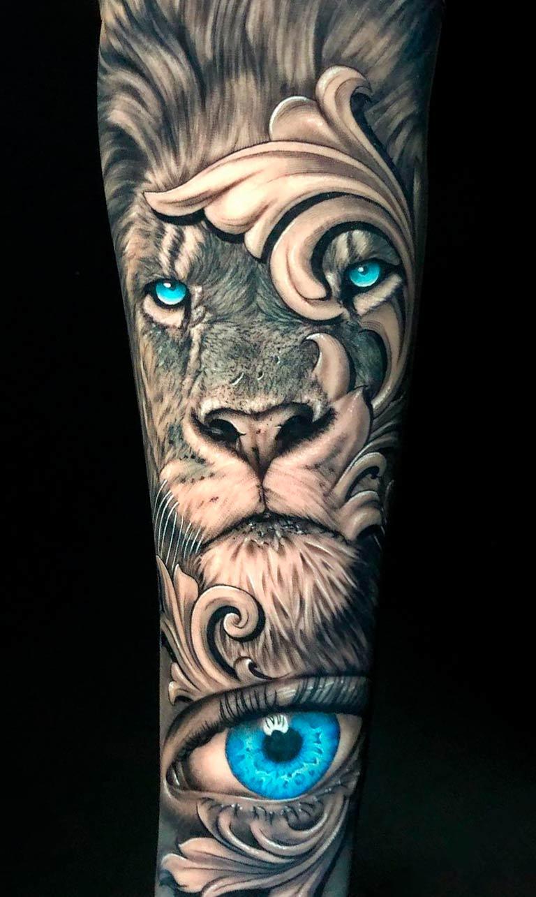 tatuagem-de-leao-com-olho-azul