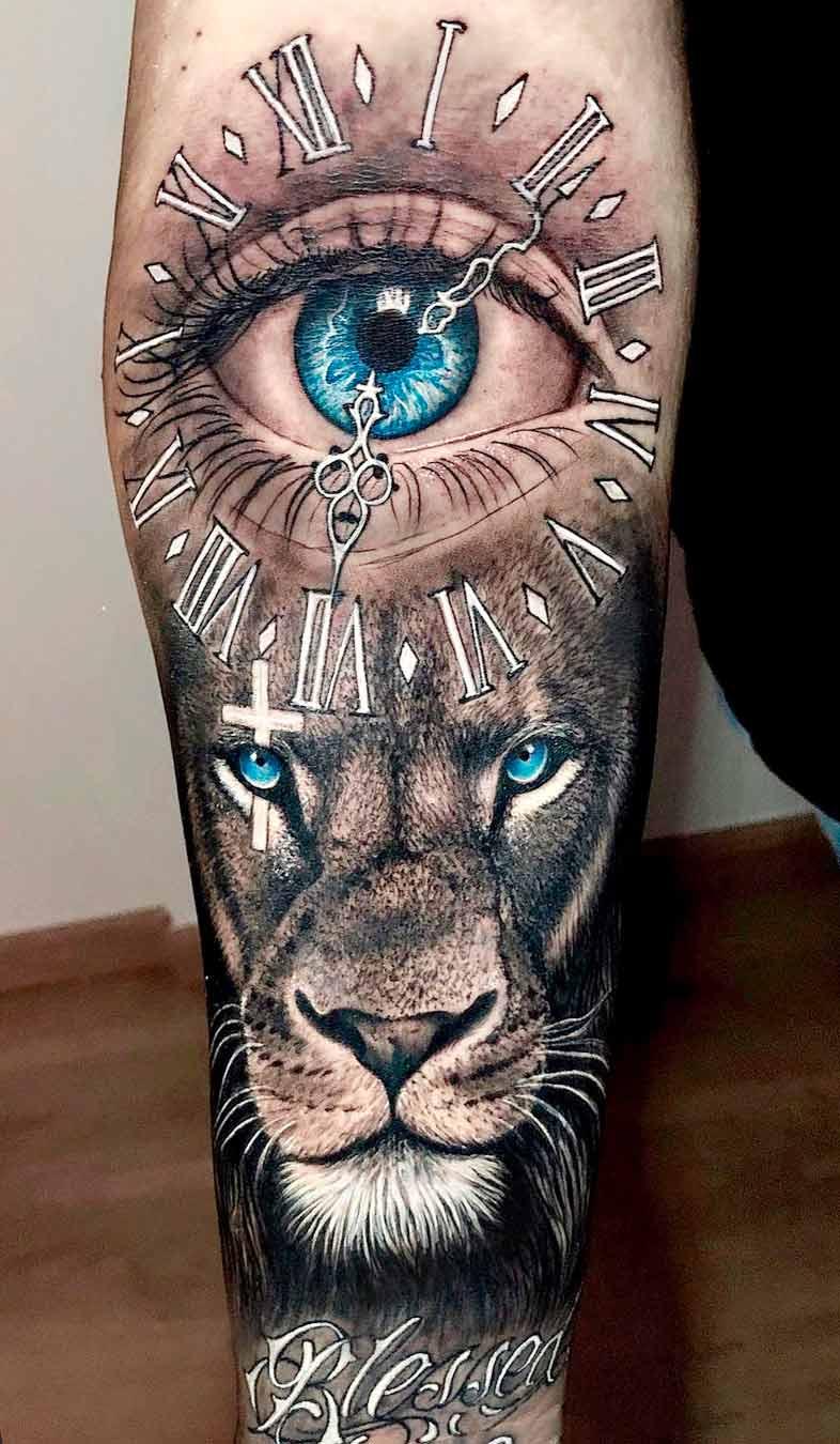tatuagem-de-olho-e-leao